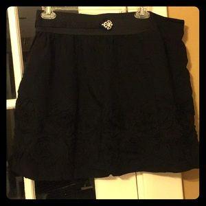 Black Flouncy Skirt with Roses